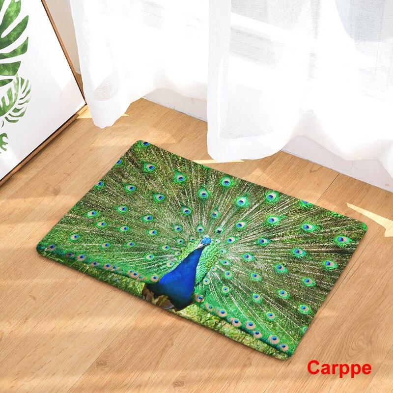 2017 New Peacock Print Carpets Bathroon Mats Anti Slip Rugs(China)