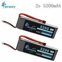 2s 7.4V 5200mah 25C Lipo Battery For RC Cars Robot Airplanes