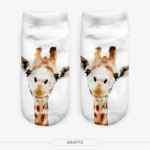 Free Shipping Meias 3D Women Socks Casual Cute Harajuku Funny Animal Giraffe Socks Unisex Low Cut Ankle Socks Multiple Colors
