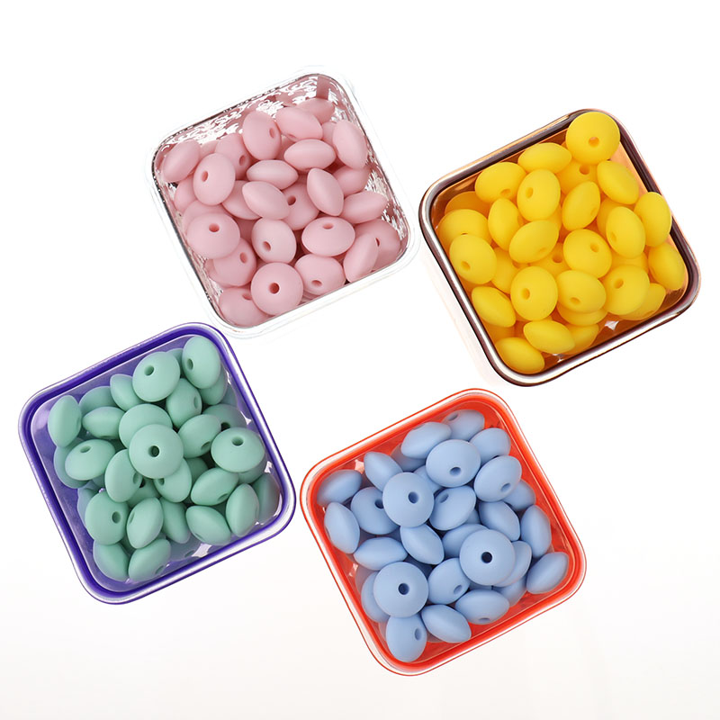 Fkisbox 300PCS Flat Silicone Teething Beads Lentils Teethers Bead Diy Food Grade Silicon Beads Decorative Bracelet Beads 12*7MM-in Baby Teethers from Mother & Kids