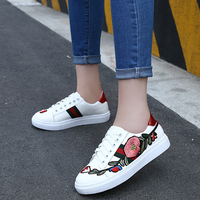 White Spring Flower Printed Sneakers Women Casual Shoes Fashion Lace up Ladies Footwear Flat Summer Women Vulcanize Shoes DC105