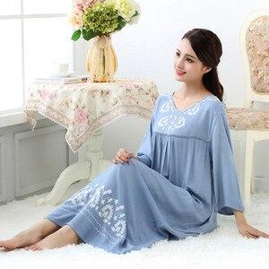 Image 2 - Fdfklak M XXL artı boyutu kadın pijama iç çamaşırı pamuk uyku elbise seksi uzun nighties kadın gecelik bahar sonbahar