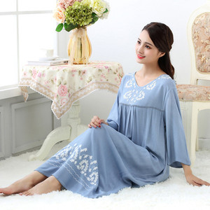 Image 2 - Fdfklak M XXL حجم كبير النساء ملابس خاصة الملابس الداخلية القطن النوم فستان مثير طويل قمصان النوم للنساء ثوب النوم ربيع الخريف