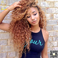 Honey Blonde Full Lace Human Hair Wigs Virgin Brazilian Kinky Curly Lace Front Wig Glueless Full Lace Wigs Human Hair Color #30