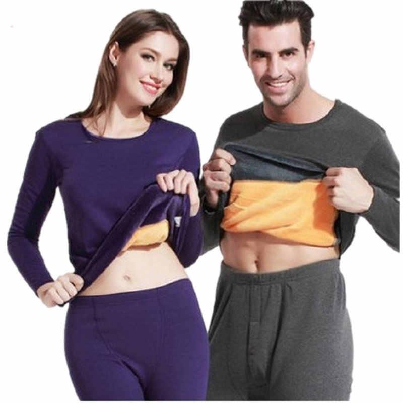 ce20f596ba Winter Lover Thermal Underwear For Women Men Pure Color Warm Cashmere Black  Long Johns Velvet Thick
