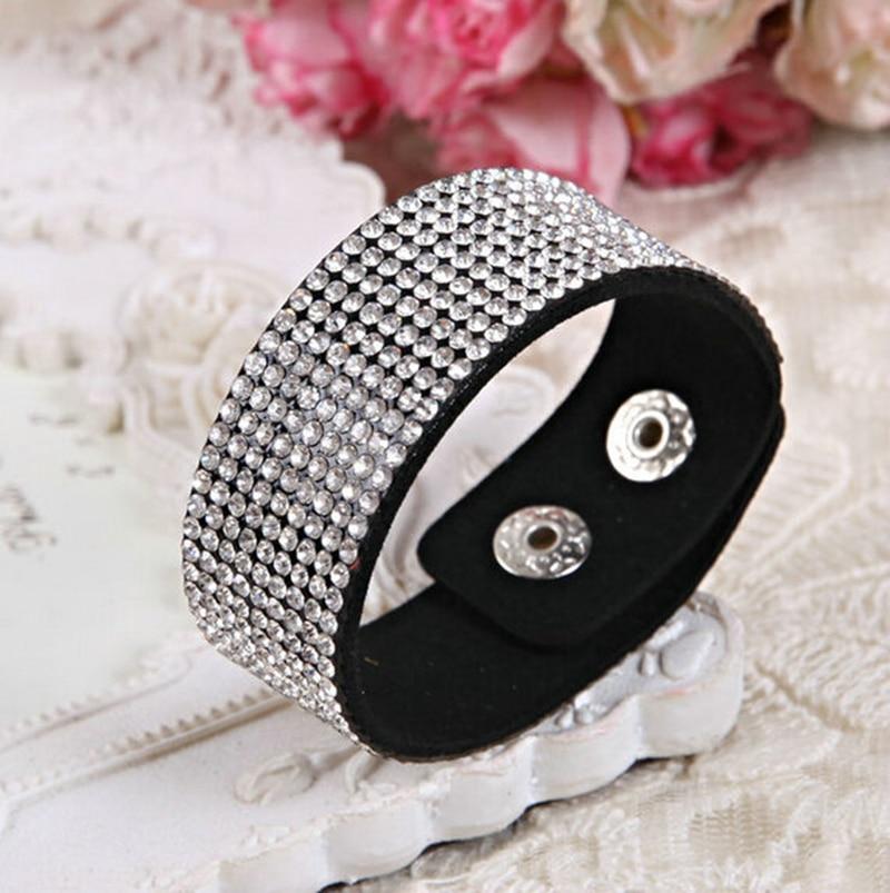 1 шт./лот Бесплатная доставка Лидер продаж модные ювелирные изделия Кристалл Стразы кожаный браслет и браслет фланелевый браслет для женщин...