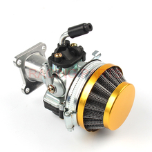 цена на 37cc Water Cooled Racing Carb Carburetor Air Filter Intake For 47cc 49cc 50cc 60CC 66CC 80cc 2 Stroke Mini Pocket Bike ATV