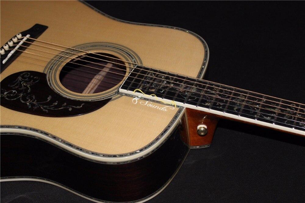 Livraison gratuite AAAAA tout en bois massif guitare personnaliser droit le meilleur D forme droit gaucher acoustique électrique guitare