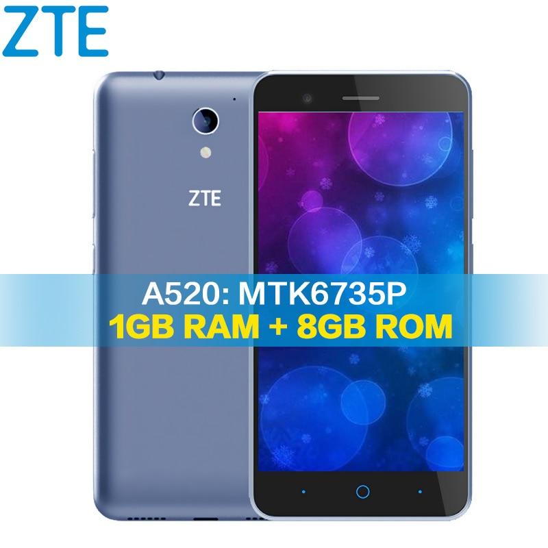 Original ZTE Blade A520 4G mobile phone 5.0 inch 1280*720 1G RAM 8GROM smartphone Quad Core android 6.0 dual sim telephone