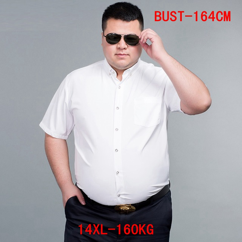 Men's Short Sleeve Big Shirt Large Size 10XL 11XL 12XL 13XL 14XL Business Office Comfortable Summer Lapel White Shirt 8XL 9XL