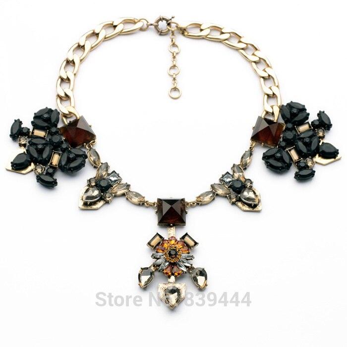 Vintage Ripe Black Stone Jewelry Elegant Large Party Women Favourite Luxury Necklace