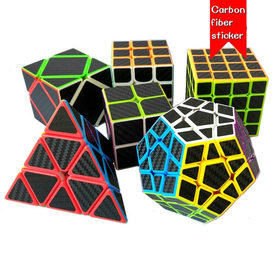 Non-toxic Magic Cubes Carbon Fiber Stickers Professional 2x2x2 Pyramid Megaminx Cube Magico Educational Toy For Children Adult