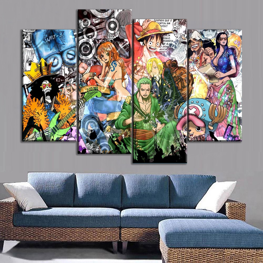 Modern canvas painting modular animation poster 4 pieces one piece home wall decorative living room printed