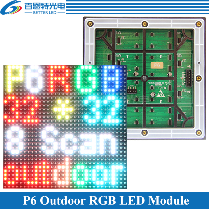 P6 Outdoor 1/8 Scan 3in1 SMD3535 Full Color P6 LED Display Module 192*192mm 32*32 Pixels