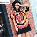 Graffiti T shirt 2017 summer female black red lip print streetwear for feminino rock punk loose letter print top tees LT122