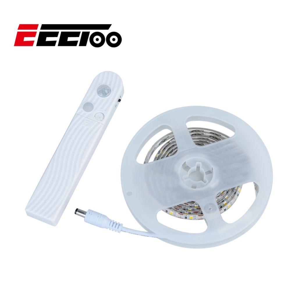 EeeToo Motion Sensor LED Strip Light 1M DC 5V 2835 SMD Battery Power Nightlight Lamp Used In Closet, Wardrobe, Cabinet Lighting