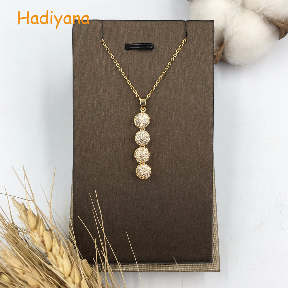 HADIYANA Cute Cubic zirconia fashion round pendant necklace for lady with link chain fashion classic design beautiful gift XL059