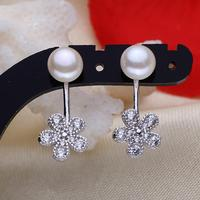 Freshwater Pearl Stud Earring 2014 New Arrive Mens Flower Natural Detachable Micro Pave Cubic Zirconia White
