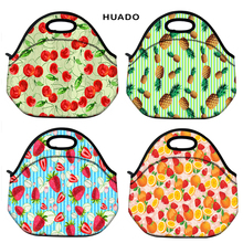 Neoprene Waterproof Insulated Thermal Lunch Bag Cooler Fruit print Box Tote for Women Kids