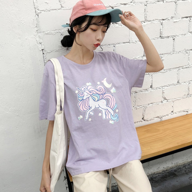 49cf5fe245c Fashion Short Sleeve cartoon print T Shirts Harajuku Ulzzang summer Women  Loose purple T-shirt Female Casual tops Korean Style