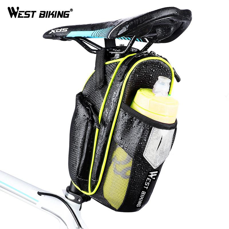 WEST BIKING Waterproof Bicycle Saddle Bag with Water Bottle Pocket Cycling Seat Bag MTB Bike Accessories Cycling Bike Rear Bags west biking 22l long journey travelling climbing cycling backpack sport waterproof mtb bag mountain bike bicycle riding bags