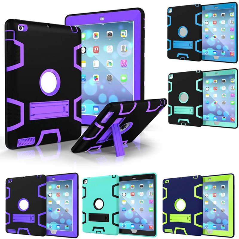 For iPad mini 1 2 3 Tablet Case Cover Hybrid Shockproof Drop Protection Rugged Three-Layer Defender Cases Cover With Stand