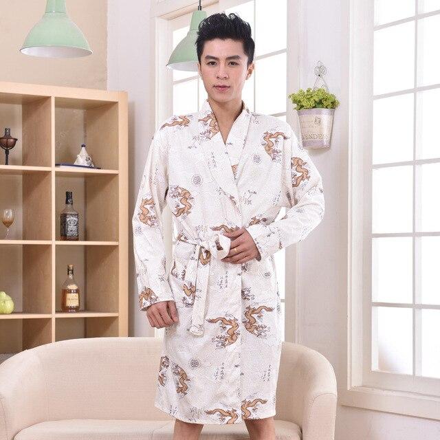 Plus Size Chinese Men Embroidery Dragon Robes Traditional Male Sleepwear Nightwear Kimono With Bandage Wholesale price XXXL