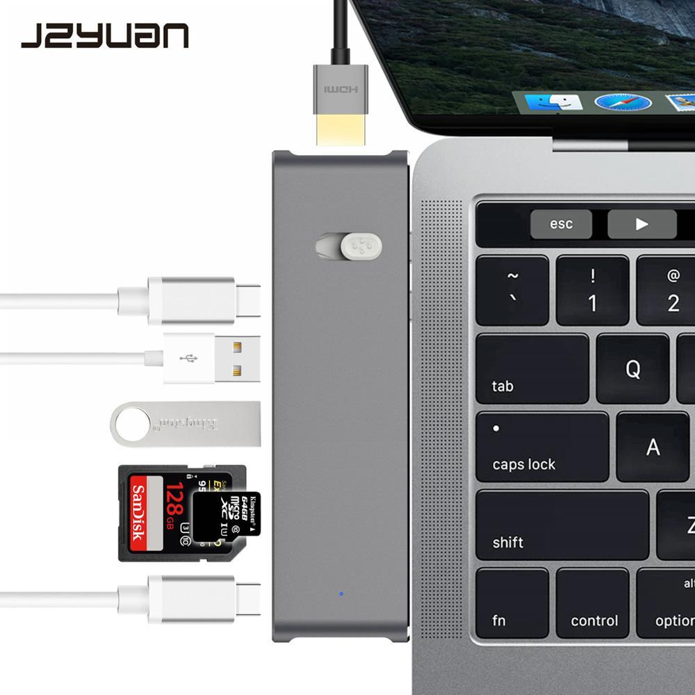 JZYuan USB C station d'accueil pour ordinateur portable pour Macbook Pro Thunderbolt 3 Dock double USB C vers HDMI USB 3.0 Type C Dock de livraison d'énergie