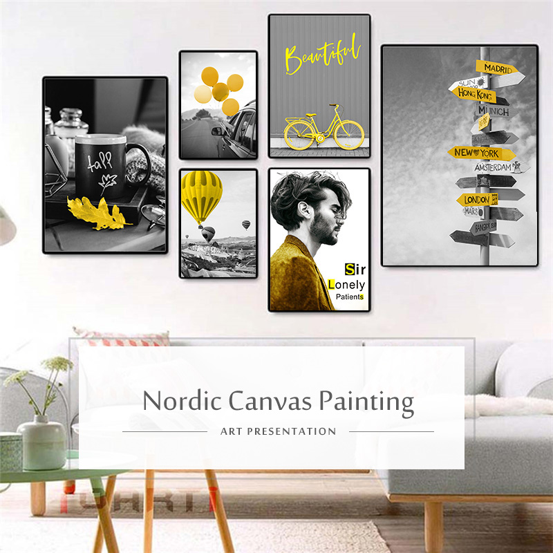 HTB1lF7GXlWD3KVjSZFsq6AqkpXaN Black and White Photograph Landscape Picture Home Decor Nordic Canvas Painting Wall Art Yellow Scenery Art Print for Living Room