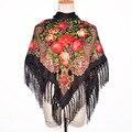 2016 Novas Mulheres Da Moda Inverno Envoltório Do Lenço Quadrado Marca de Luxo Lady Tassel Bandana Xale Floral Designer De Poncho Venda Quente Cabeça