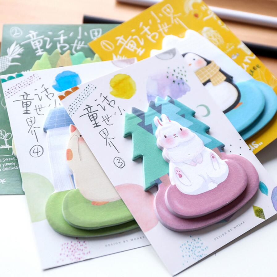 36 pcs/Lot Cute animal sticky note 40 sheets memo pad Panda Penguin Rabbit Cat post it Message notes Office School supplies 7056