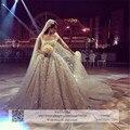 2016 luxo high end qualidade melhor estoque Vestidos de Noiva Catedral Trem Apliques Cristais Lace Wedding Dresses Vestido de Casamento