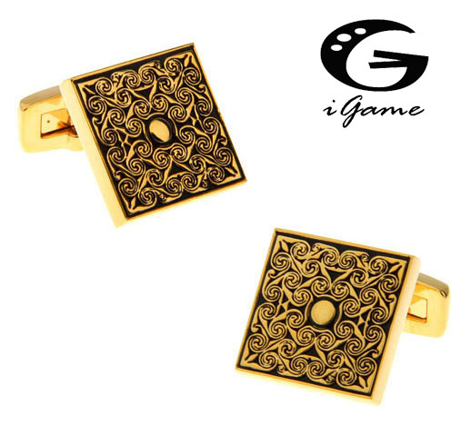 Free Shipping Quality Gold color Cuffinks Royal Vintage Flower Carving Design Hotsal Luxury Gift Cuff Links