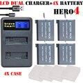 4x batería gopro go pro hero4 hero 4 gopro4 baterías digitales + dual usb cargador de batería para gopro hero 4 hero4 cámara