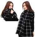 Мода Пашмины Черный Плед Шарф Wrap Шаль Теплое Одеяло Для Женщины/Пары Горячей