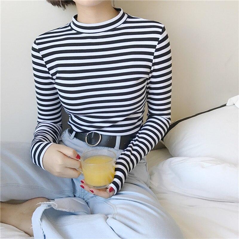 2018 קוריאני סגנון ארוך שרוול T חולצות נשים חדש מכירה לוהטת תלמיד חולצה נשים אופנה Harajuku פסים נקבה Slim Femme ליידי