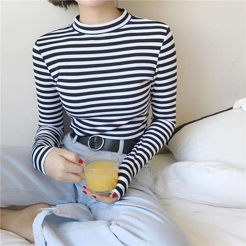 2018 корейский стиль с длинным рукавом футболки новинки для женщин Лидер продаж Студенческая футболка для Мода Harajuku полосатый Женский Тонкий купить на AliExpress