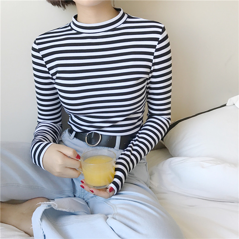 2019 Korean Style Long Sleeve   T     Shirts   Women New Hot Sale Student   T  -  shirt   Womens Fashion Harajuku Striped Female Slim Femme Lady