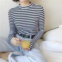 2019 Style coréen à manches longues t-shirts femmes nouvelle offre spéciale étudiant T-shirt femmes mode Harajuku rayé Femme mince Femme dame