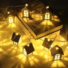 10/20 led haus stil fee lichter weihnachten girlande neue jahr led party hause dekoration fee string licht batterie betrieben