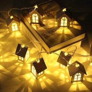 Image 1 - 10/20 led haus stil fee lichter weihnachten girlande neue jahr led party hause dekoration fee string licht batterie betrieben
