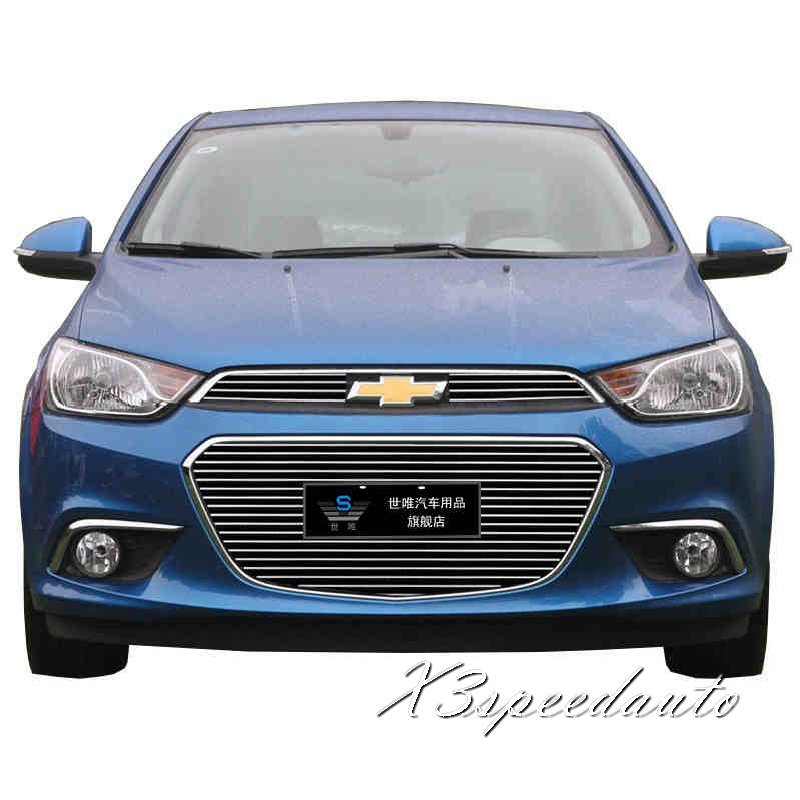 For Chevrolet Aveo 2014 Racing Grill Grille Cover Trim New Aluminum Alloy 3PCS for subaru outback 2010 2011 2012 2013 grill grille front bottom racing cover trim high quality new aluminum alloy