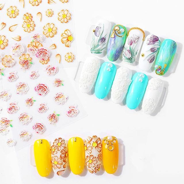 3D Acryl Gegraveerde bloem Nail Sticker Reliëf Luipaard bloem Bladeren Water Decals Empaistic Nail Water Slide Decals Z0109