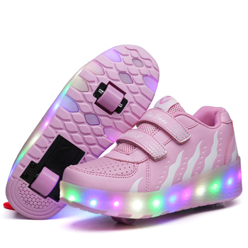 LED Double Roller Skate Shoes Women Men Colorful Flashing Automatic Glowing Pulley Roller Shoes Kids Luminous Sneakers