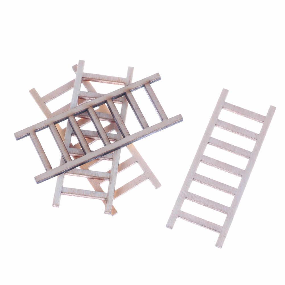 4 adet yeni ve yüksek QualityDoll evi minyatür ahşap portatif merdiven mobilya araçları peri bahçe dekor 2*6cm