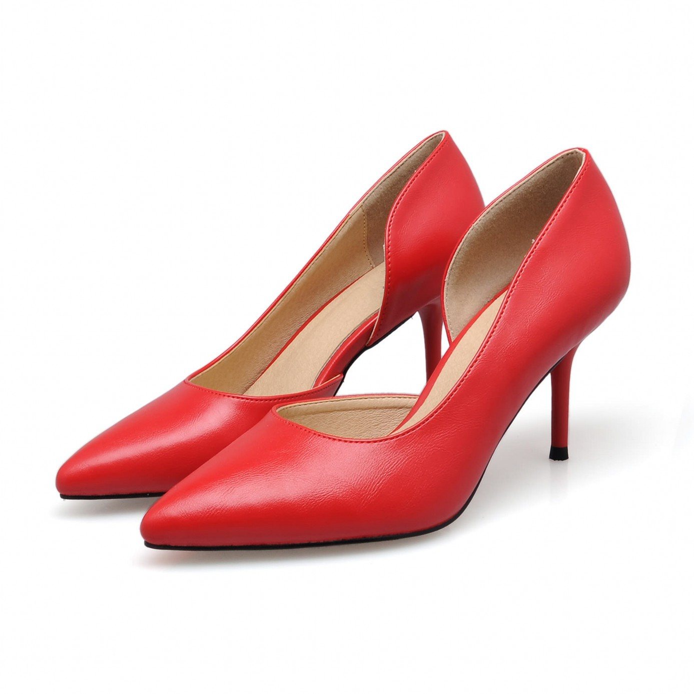 New Spring Summer Red High Heels Good Quality Pointed Toe Women Lady Solid Simple Casual Genuine Leather Pumps Shoes SMYBK-46 fashion new spring summer med high heels good quality pointed toe women lady flock leather solid simple sexy casual pumps shoes