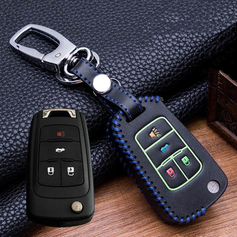 Hand sewing Luminous Leather  Key Holder Cover Case For buick Chevrolet Cruze Aveo TRAX Opel Astra Corsa Meriva Zafira Antara-in Key Case for Car from Automobiles & Motorcycles
