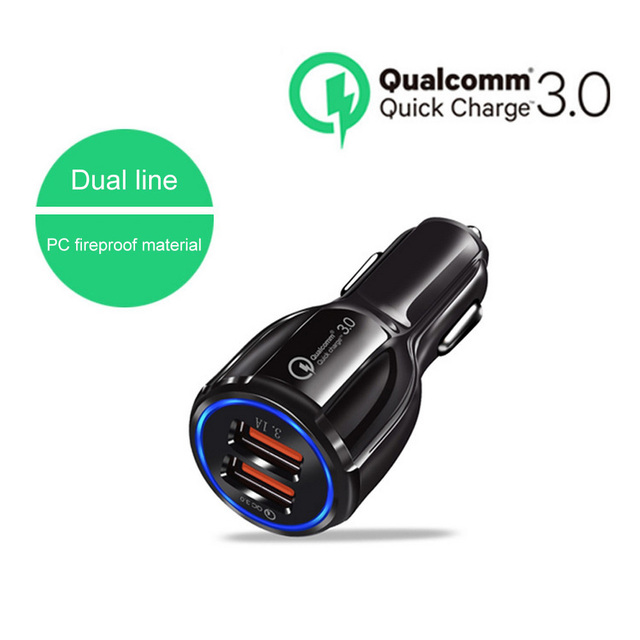 Car Charger 2 Port 3.1A Dual USB Car Cigarette Lighter Charger Adapter Auto Vehicle Type-C QC 3.0 Fast Charge for Mobile Phone