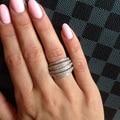 R0995 AAA Luxo cubic zirconia micro pave configuração multi-camadas limpar pedra anel de dedo completo, brilhante, accessaries partido