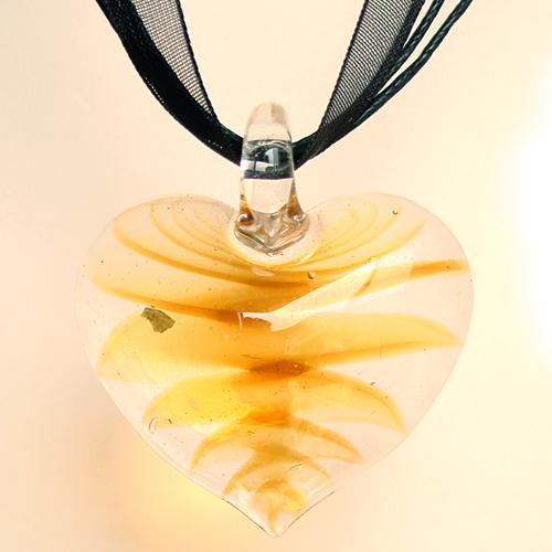 Regalo del Día de Madre y Joyas de Moda SERPIENTE ROJA Partido de Temporada Estilos de Cristal de Murano Amarillo Zigzag Línea de Corazón Colgante de Collar